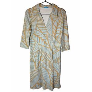 J McLaughlin Harbor Leaf Print Dress Small